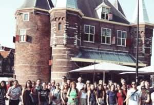 students at the weight house on the new markt square in Amsterdam